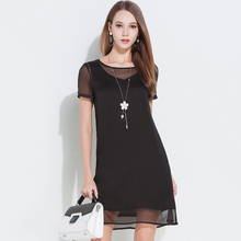 Buy 2017 Summer Women Casual Silk Chiffon Dresses Plus Size Black Short Dress Lady Elegant High-end Short Sleeve Woman Clothing for $29.52 in AliExpress store