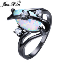 JUNXIN Gorgeous Rainbow Fire Opal Rings For Women Men Black Gold Filled Wedding Party Engagement Promise Ring Christmas Gift(China)