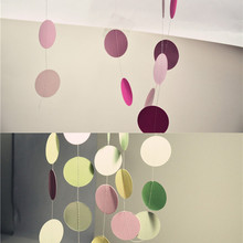 Round Paper Circle String Curtain Bunting Banner Flags Hanging Garland Valentine Birthday Party Wedding Room Decoration Supplies