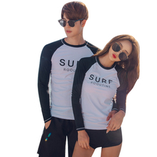 Rhyme Lady couple surf wear Rash Guards four pieces Swimming Swimwear for lady bathing suit beachwear(China)