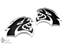 Brand New 1 Pair HELLCAT Car Side Plate Wing Fender Self-adhesive Badge Emblem for Dodge Challenger Charger Chrysler 442bk