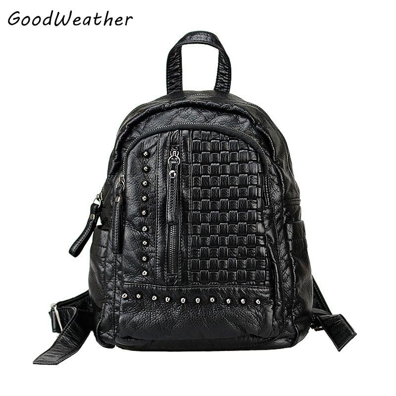 Genuine leather women backpack designer knitting rivet bag fashion black sheepskin large capacity ladies zipper travel backpacks<br>