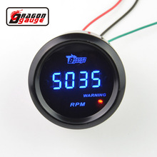 Dragon gauge Universal 52mm Black Shell and Blue LED backLight Digital Tachometer Gauge 0-9999 RPM Auto Gauge Free shipping(China)