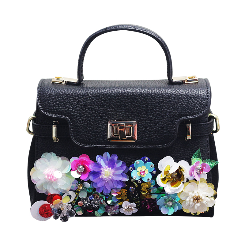 2017 Handmade Colorful Flower PU Leather Women Handbags Shoulder Bag For Female Designer Ladies Hand bag Famous Brand Tote Bags<br>