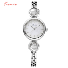 TG144 KIMIO Branded Small Dial Simple Face Design Watch Crescent Pattern Crystal Bracelet Strap Bracelet Ladies Wrist Watch(China)