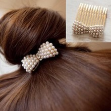 Cheap Korean hair accessories bridal jewelry imitation pearl bow sleek hair comb inserted comb free shipping(China)