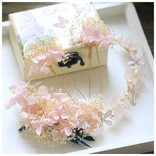 Pretty Pink Ivory dried flower Hair Pins Set Bridal Headband Handmade Wedding Tiara Accessories Hair Jewelry Women Headdress