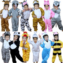 Cartoon Children Kids Animals Costumes Cosplay Clothing Jumpsuit Rabbit Mouse Leopard Cat Halloween Animal Costume for Boy Girl(China)