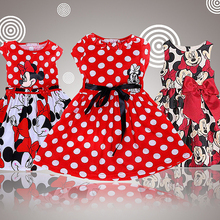 2017 Summer Girl Dress Fashion Cartoon Mouse Printing Dot Sleeveless Princess Dress For Girls Christmas New Year Party Costume