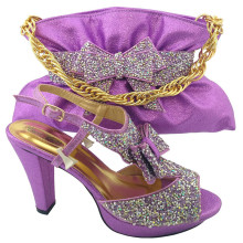 MM1042  New Arrival Lilac Rhinestone Luxury Fashion Shoes And Bags set High Quality African Lady High Heel And Bag Set For Sale