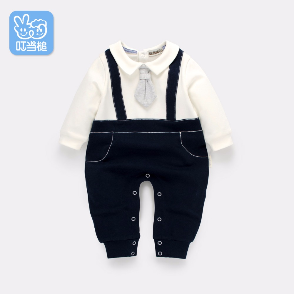 Dinstry New born Rompers Clothing Spring handsome Baby Costumes Infant Fake two pieces Boys one-piece<br>