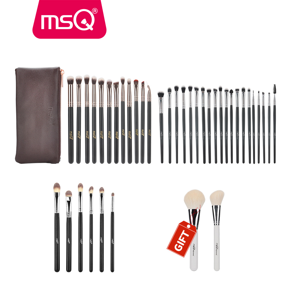 Buy 3 Get 1 Gift MSQ Professional 3sets Eye Makeup Brushes Rose Gold Eyeshadow Eyebrow Brush With 2pcs Powder Brush For Gift<br>
