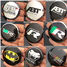 4pcs/lot Modified 56mm Custom Car Stickers Car emblem Wheel Center Sticker For ABT/VRS /R/Ralliart/Data/Batman logo auto decals(China)