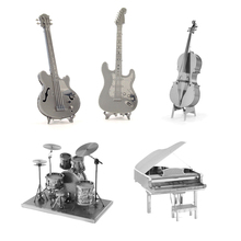 3D Metal Puzzles DIY Model Musical Instrument Band Guitar Violoncello Piano Drum Kit Children Kid Toys Present Gift