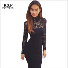 Women Sexy evening black lace dresses for prom Affordable 2017 Summer Turtleneck Formal Party Bodycon Bandage Pencil Dress(China)