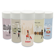 Personalized Modern  BPA Free Plastic Insulated Fashion Paris Rome London Travel City Silhouette Kids Water Bottle 300ml Gift