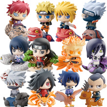 6pcs/set Naruto Sasuke Uzumaki Kakashi Gaara Action With Mounts Figures Japan Anime Collections Gifts Toys #E
