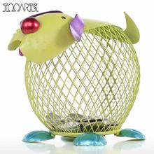 Tooarts Money Box Metal Green Puppy Money Bank Figurines Animal Piggy Bank Home Decor Craft Modern Home Decoration Accessories(China)