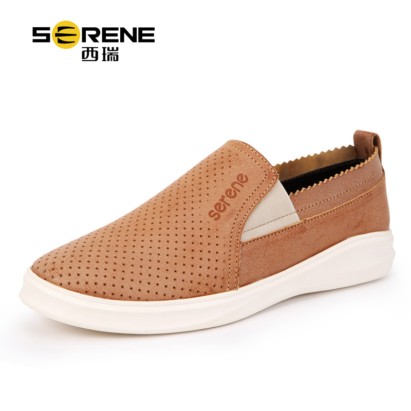 SERENE Brand 6291 Style Spring Summer Genuine Leather Mens Casual Shoes With Breathable Holes Elastic Welt Non-slip Man Loafers<br>