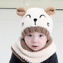 Winter Warm Children Hats Skullies Baby Kids Boy Girls Hat with Scarf Set Cute Infant Baby Knitted Hats Cartoon Cat Beanies Caps(China)