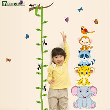 Maruoxuan Kids Child Height Chart Measurement Wall Stickers Cartoon Animal Vinyl Wallpaper Kids Bedroom Home Decor Mural Decal(China)