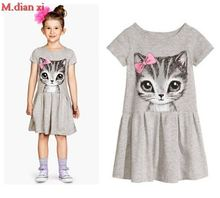 Hot Sale New 2017 summer girl dress cat print grey baby girl dress children clothing children dress 0-7years