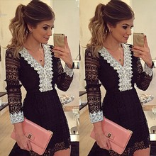 Fashion sexy Women Dress V neck long sleeve lace up patchwork lady Casual High Waist A Line Mini Dresses back zipper Vy