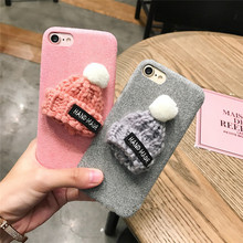 Korea Super Cute Fashion 3D Wool Hat Flannelette Plastic Case Cover For Iphone7 4.7inch(China)