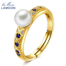 LAMOON 5mm Natural Freshwater Pearl 925 Sterling Silver Jewelry Wedding Ring with 14K Yellow Gold Plated S925 For Women LMRI044