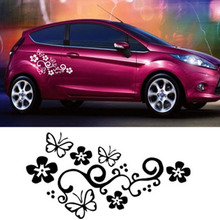 2pcs 46*27cm Car Styling Flower and Butterfly Car Window Sticker Motorcycle Auto Door Decals Decoration Accessories Black White