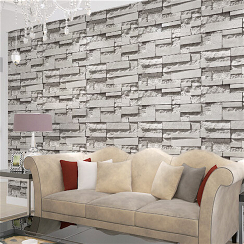 beibehang Realistic Brick wall Wallpaper roll White Grey Real Deep Embossed Textured Wall paper Roll home decor contact-paper<br>