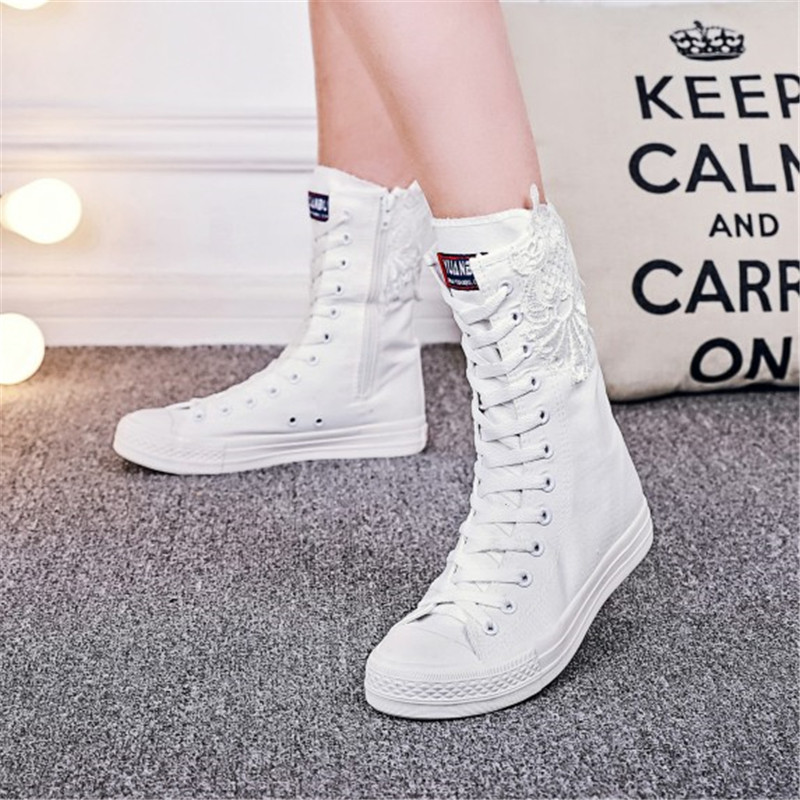 SWYIVY Women Canvas Shoes High Top Lace 2018 New Female Casual Sneakers Shoes Zipper White 34 43 Plus Large Size Woman Sneakers