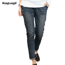2017 Jeans women black large size boy friend vintage skinny winter warm cowboy woman Cotton harem denim pants Plus Size 5XL(China)