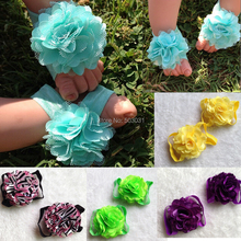 "NEW Wholesale 6Pair/lot 3""  Chiffon satin Mesh Flower shoes 15Color baby kids shoes Baby Footwear Barefoot sandals"