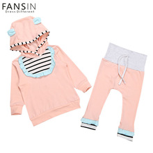 FANSIN Brand Cute Newborn Baby Girl Boy Clothes Cotton Hooded Striped Tops+Long Pants 2pcs Suit Children Clothing Sets Outfits(China)