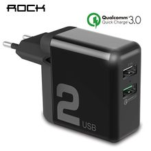 QC3.0 USB Charger, ROCK Dual USB 30W Quick Smart QC 3.0 FCP Phone Charge Universal For Xiaomi iPhone Samsung Huawei EU Plug(China)