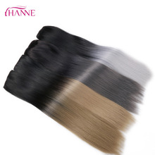 "HANNE 24""Long Straight 5 Clips In Extension Black To Blonde Or Grey Heat Resistant Synthetic Hair Extensions Clip In Hair Weave(China)"