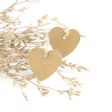 100pcs Heart Kraft Paper Tags with Hemp String DIY Craft Label Luggage Party Favor Hanging Ornaments Christmas Wedding Decor(China)