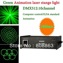 Green 1000mW 1W Laser projector Party Bar Club dmx512 ILDA lighting light DJ Disco Dance KTV cool Animation Stage Light show