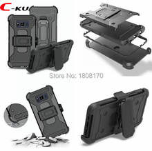 Kickstand Clip Belt TPU PC Hard Case For Samsung Galaxy S8 Active For MOTO G4 G5 Plus Hybrid Stand Cell Phone Skin Cover 40pcs(China)