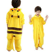 Cute Children Cartoon Pajamas Pikachu Long Sleeve Baby Girls Boys Clothes Pokemon Nightgown Pyjamas Cute Kids Pijamas Infantil(China)