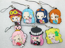 6 pcs/set Japanese original product anime One Piece figures Nami,Robin,Perona,Shirahoshi, Vivi phone strap/keychain pendant toys