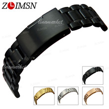ZLIMSN Stainless Steel Watch Band 18mm 20mm 22mm 24mm 26mm Black Solid Steels Bands Watchband Bracelet Watch Accessories relogio(China)
