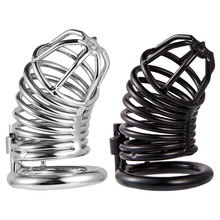 Buy Metal cock cage male chastity device bdsm men penis bondage locks cock rings men bird cages adult cbt sex toys cb6000s