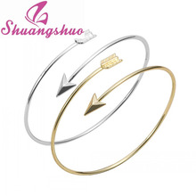 Min 1pc Gold and silver Adjustable Arrow Bangle Bracelets Wire bracelet bangles Simple bangles women bangles SZ016