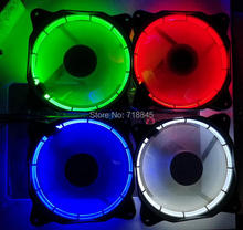 12cm computer case fan silent Sun red blue Green White colorful Color Nine Sickle Leaves System Cooling Fan pc case 4pin 3pin(China)