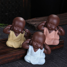 Hot,cute buddha tea pets,lovely colorful small monk pottery teapets,tea accessories,handmade decoration,for Puer tea black,pu'er(China)