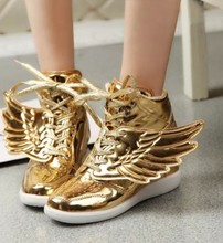 hongyi silver  cartoon angel wing butterfly student women casual shoes high top ankle boots patent leather lace up booties