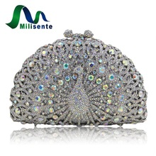 Milisenre Women Wedding Clutch Lady Animal Luxury Crystal Clutches Peacock Shape Evening Party Bag Green Gold Silver Pink