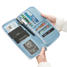Denim Blue Passport Bag Women Cash Organizer Money Purse Credit ID Card Holder Travel Pouch Wallet Accessories Supplies Products(China)